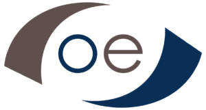 blue and brown O.E. Strategies logo